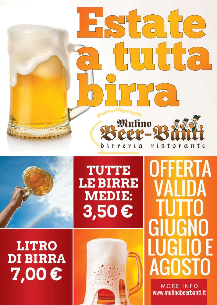 ESTATE A TUTTA BIRRA: birra media 3,50€ e litro a 7,00€